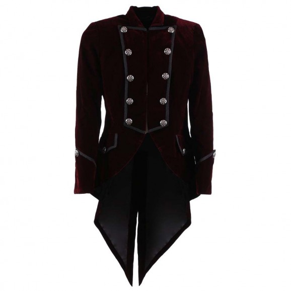 Men Pie Red Velvet Tailcoat Elegant Aristocrat Men Coat