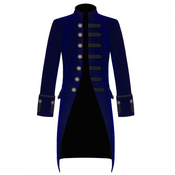 Men Steampunk Tailcoat Blue Velvet Gothic Victorian Frock Men Coat