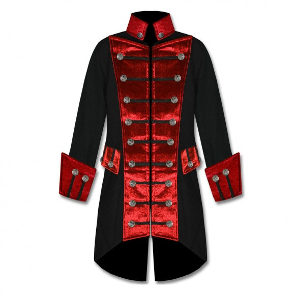 Custom Mens Gothic Steampunk Pirate Coat Trim Jacket