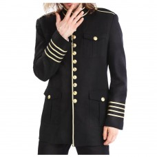 Men black military Coat with gold buttons and bands