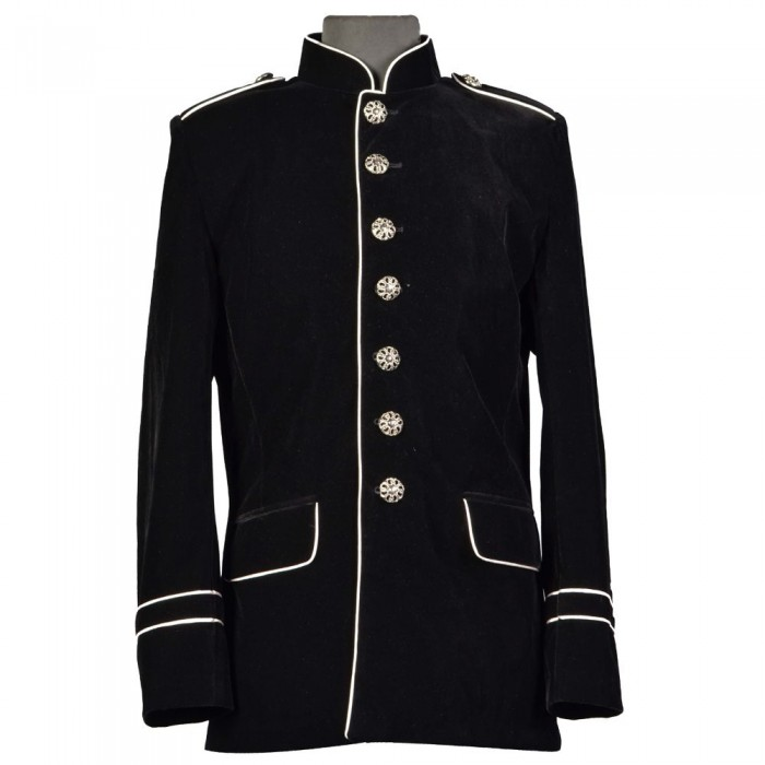 1a01bf4f35a Men Military Style Jacket Steampunk VTG Gothic White Piping Trim Coat
