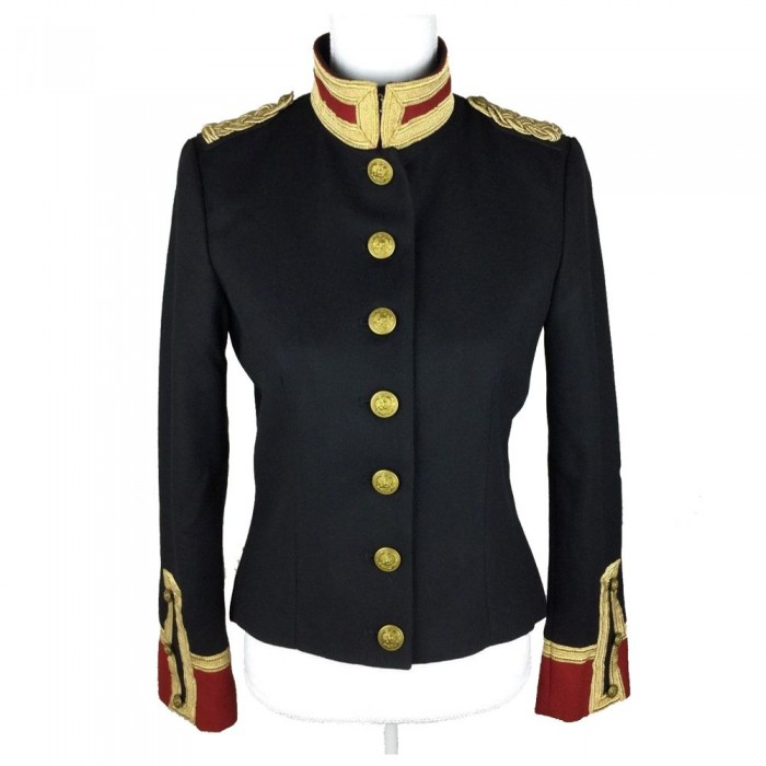 Women Wool Military Coat Officer Band Trench Slim Fit Coat