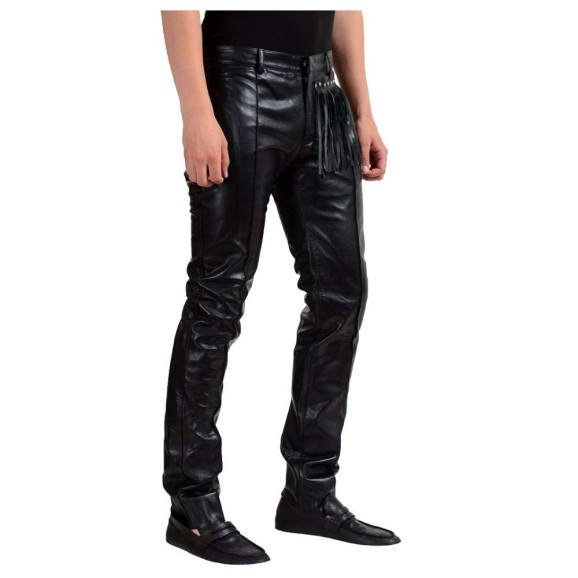 Men Motorcycle Leather Pant Gothic Genuine Night Club