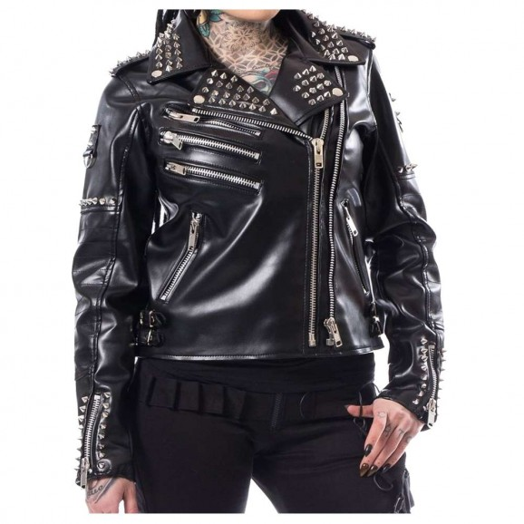 Women Gothic Biker Jacket Razer Black EMO Punk Ladies Jacket