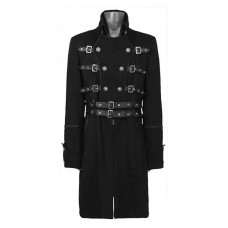 Men Double Breasted Belted Coat Goth Fashion Trench Coat