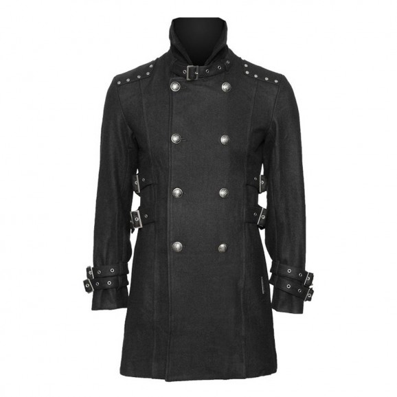 Men Gothic Black car coat with stand collar