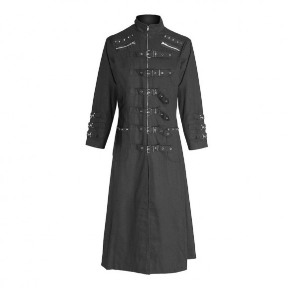 Gothic Long Coat Bondage Uniform Rivets Straps