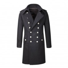 Gothic Overcoat Military Double Breasted Trench Coat   Men Goth Coats