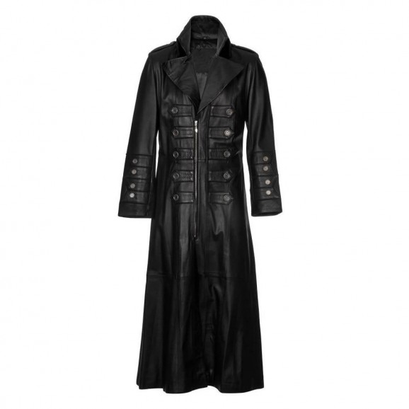 Men Gothic Military Steampunk Leather Trench Men Coat