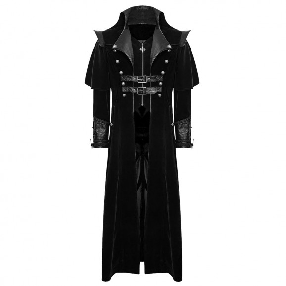 Mens Gothic Steampunk Coat Vtg Regency Highwayman Long coat
