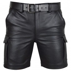 Mens Real Leather Cargo Shorts Club Wear Shorts Casual Short