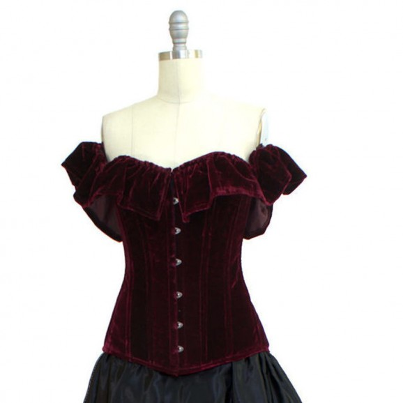 Women Steampunk Wine Roses Corset Steel Boned