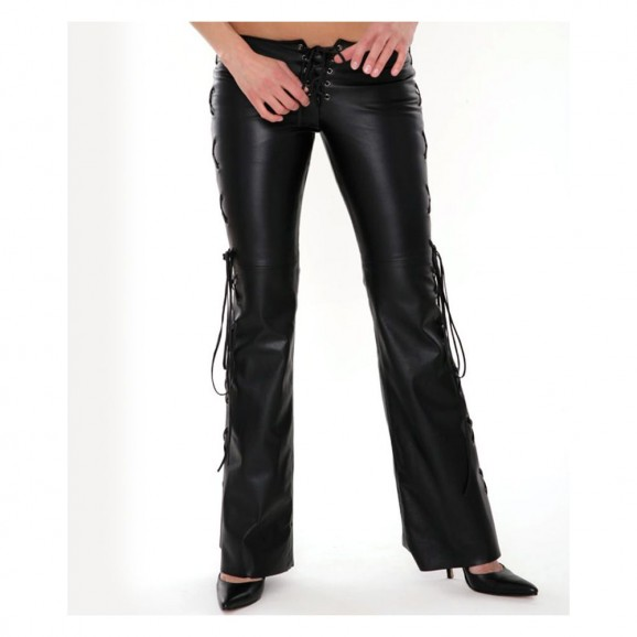 Women Faux Lace Up Club Pants
