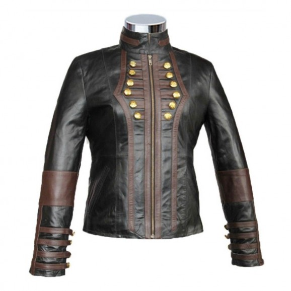 Women Ladies Genuine Leather with Red Lining Gun Club Jacket