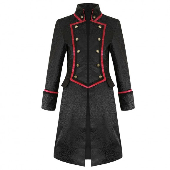 Pentagramme Severin Mens Coat In Black Red