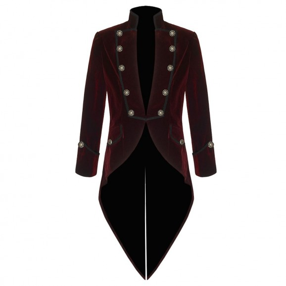 Men Gothic Pentagramme Red Velvet Coat