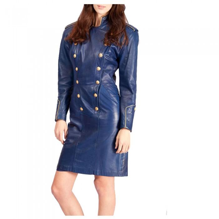 Women Blue Leather Long Coat | Women Gothic Clothing