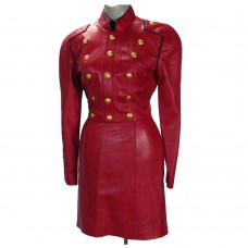 Women Red Leather Long Gothic Coat