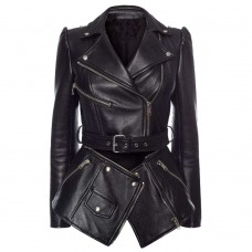 Women Double Breasted Black Leather Gothic Coat