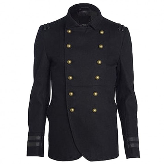 Men Military Style Wool Coat