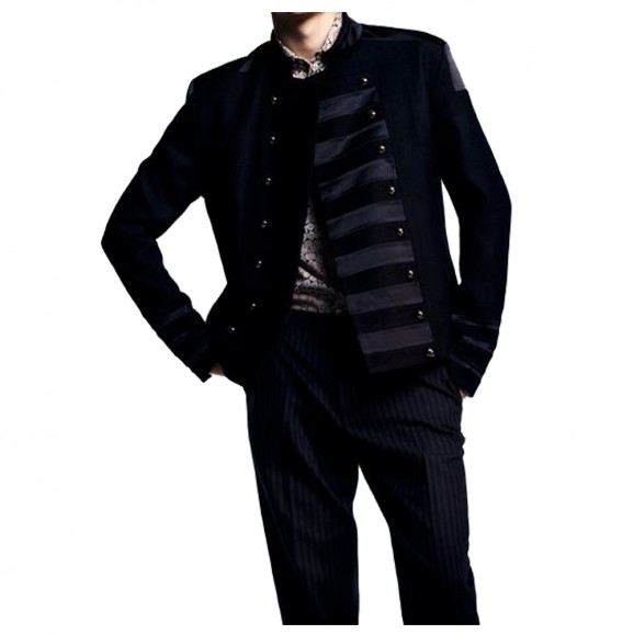 Men Black Fashion Velvet Coat