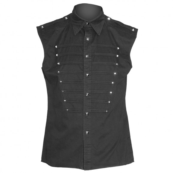 Men Gothic Black Sleeveless Shirt
