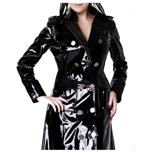 Women Vinyl PVC Shinny Coat Black Gothic Jacket