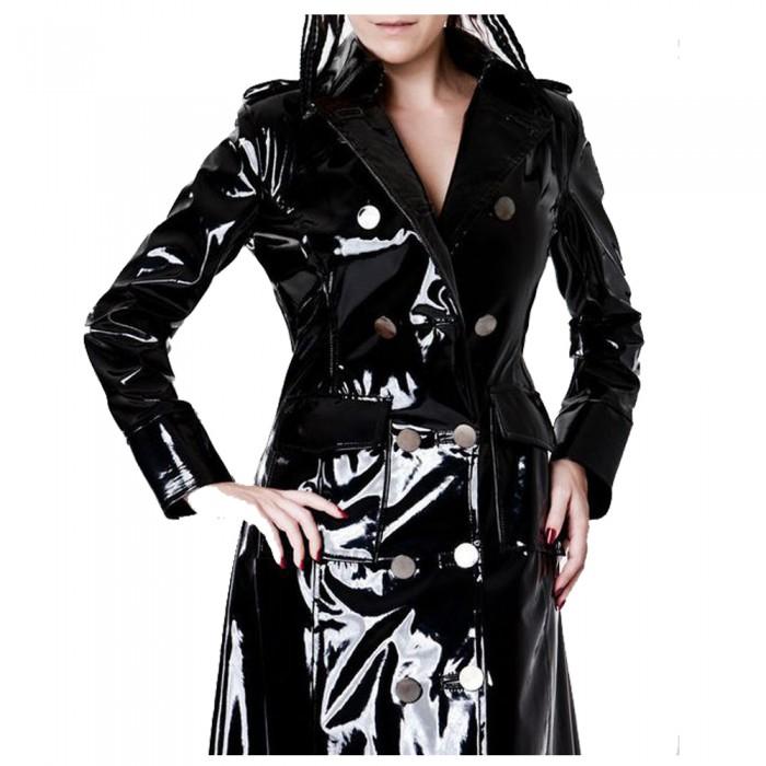 Women Vinyl PVC Shinny Coat Black Gothic Jacket