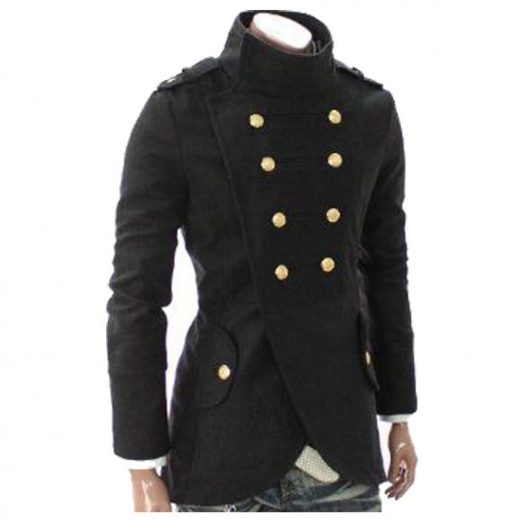 Men Golden Button Coat