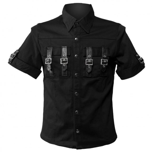 Men Gothic Black Shirt Pocket on Straps