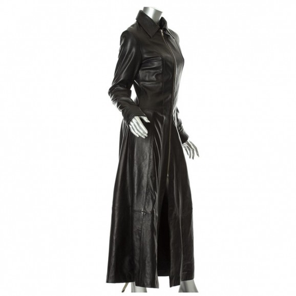 Women Steampunk Leather Long Coat Matrix Black Long Women Coat