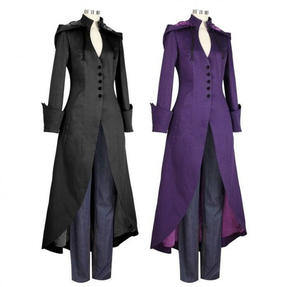 Women Coat Gothic Jacket Ladies Goth Punk Emo Long Vintage Coat