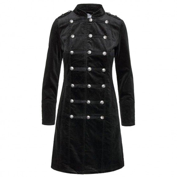 Womens Gothic Black Fitted Velvet Coat Womens Vintage Fashion Coat