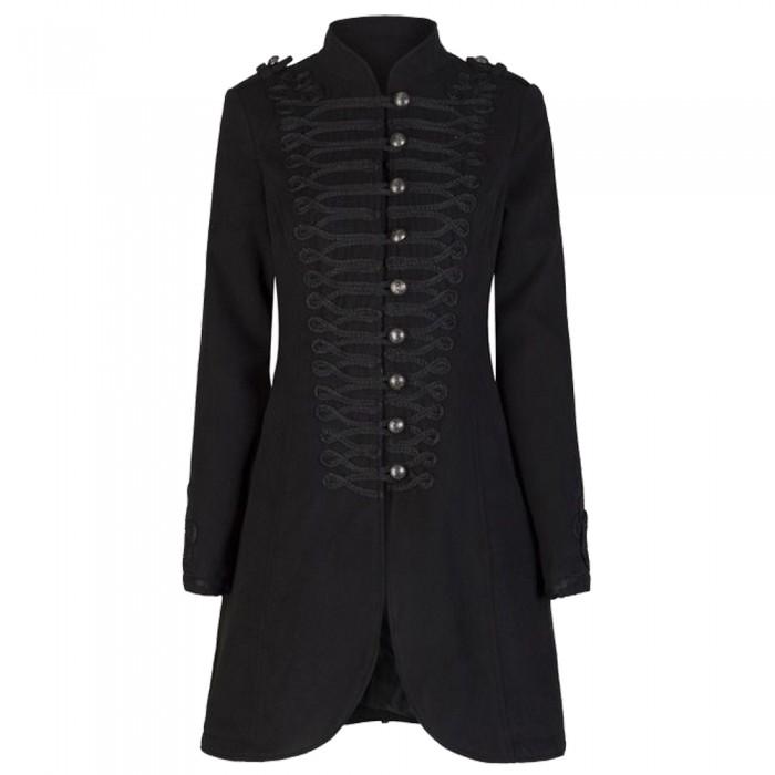 Gothic Military Black Clothing Punk Style Braided Women Gothic Coat