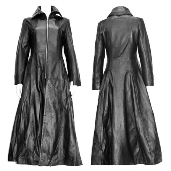 Women Midnight Club Leather Coat Napa Leather Red Lining Full Length Coat