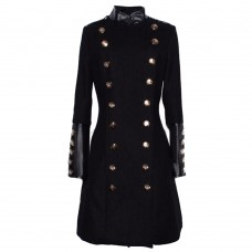 Women Military Double Breasted Slim Long Gothic Coat