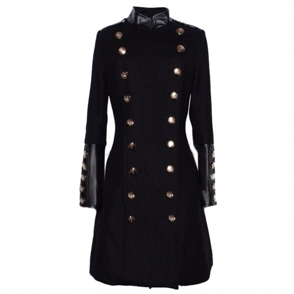 Women Military Double Breasted Slim Long Coat