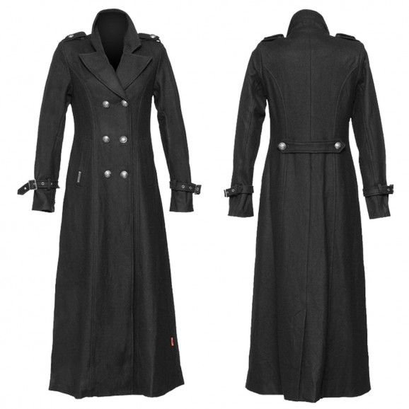 Women Gothic Military Coat Black Wool Women Long Coat