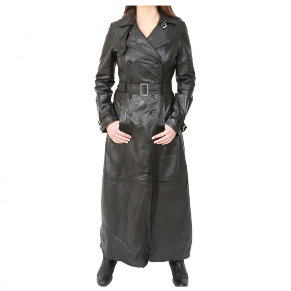 Women Long Black Leather Coat Full Length Double Breasted Trench Coat