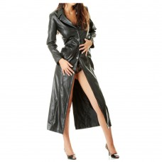 Sexy Women Pure Leather Coat Ladies Soft Leather Full Length Trench Coat