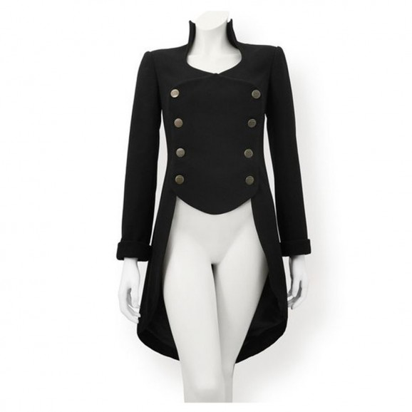 Womens Steampunk Gothic Tailcoat Black Gothic Jacket Victorian Style Tailcoat