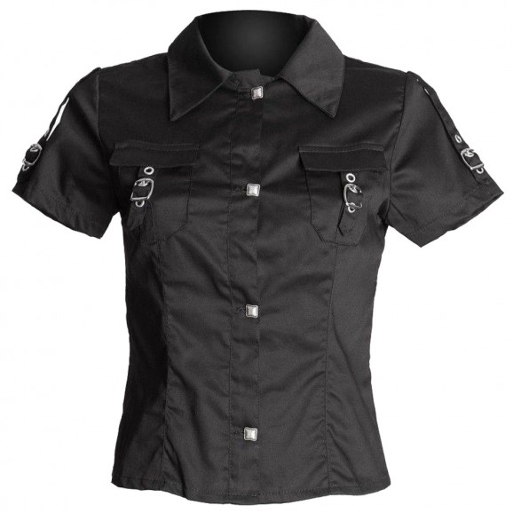 Women Gothic Shirt Black Short Sleeve Shirt
