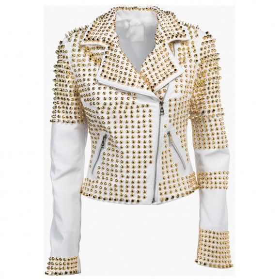 Women Fashion White Leather jacket