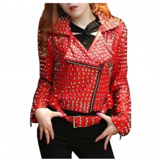 Ladies Red Spice Leather Jacket