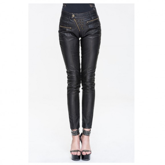 Women Steampunk Rock Rivets Women Gothic pant PU Leather Black Fit