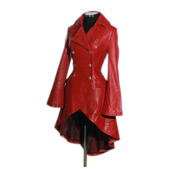 women Gothic Red Military Corset Women Steampunk Leather Coat