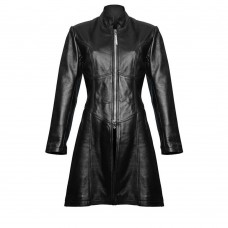 Women Steampunk Trench Coat Gothic Sexy Jacket Black Sheep Leather