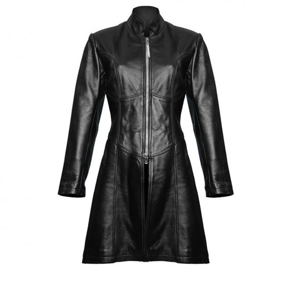 Women Steampunk Trench Coat Gothic Sexy Leather Jacket