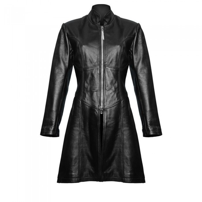 da1de2082f Ladies Gothic Steampunk Style Trench Coat Black Sheep Leather Sexy Jacket
