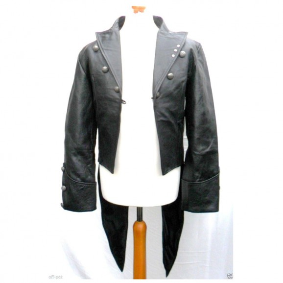 Men Real Leather Black Tailcoat Steampunk Jacket Dress Coat